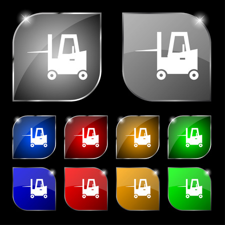 Forklift icon sign. Set of ten colorful buttons with glare. Vector illustration