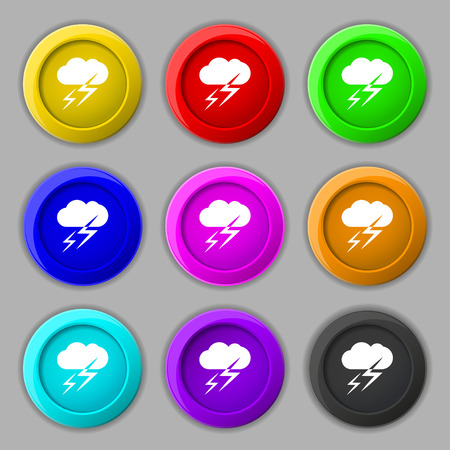 lightening: Weather icon sign. symbol on nine round colourful buttons. Vector illustration
