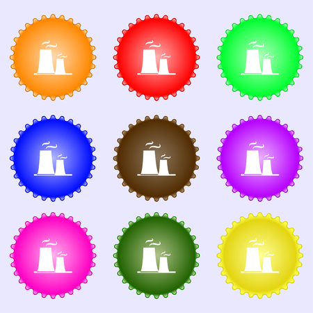 thermal power plant: atomic power station icon sign. Big set of colorful, diverse, high-quality buttons. Vector illustration