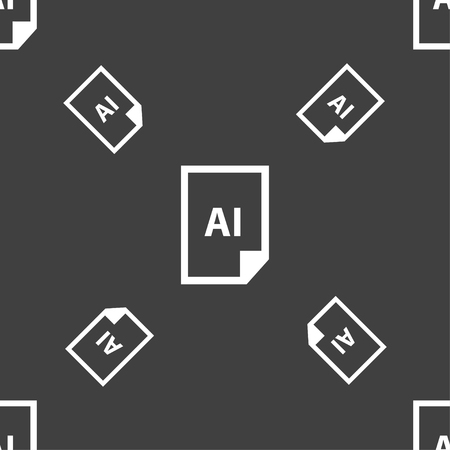 coreldraw: file AI icon sign. Seamless pattern on a gray background. Vector illustration Illustration