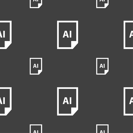 javascript: file AI icon sign. Seamless pattern on a gray background. Vector illustration Illustration