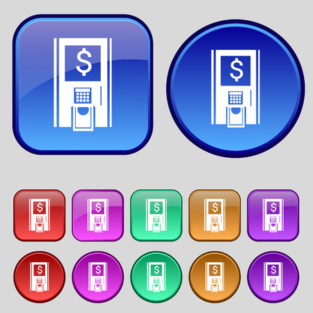 withdraw: atm icon sign. A set of twelve vintage buttons for your design. Vector illustration