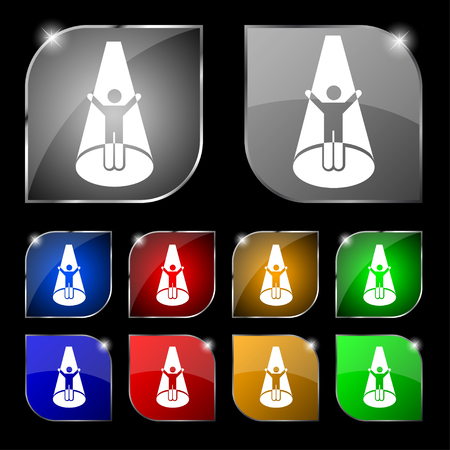 videographer: Spotlight icon sign. Set of ten colorful buttons with glare. Vector illustration