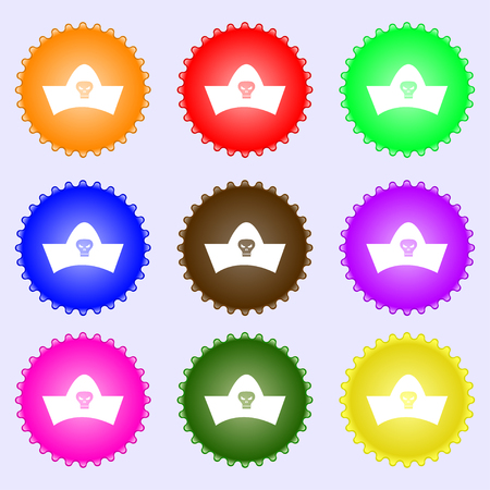 black pirate hat with skull and crossbones icon sign. Big set of colorful, diverse, high-quality buttons. Vector illustration