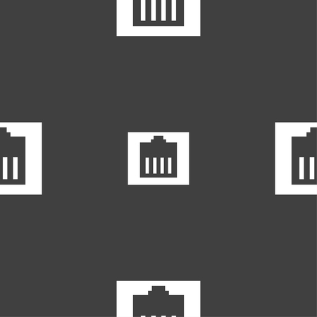 cat5: Internet cable, RJ-45 icon sign. Seamless pattern on a gray background. Vector illustration