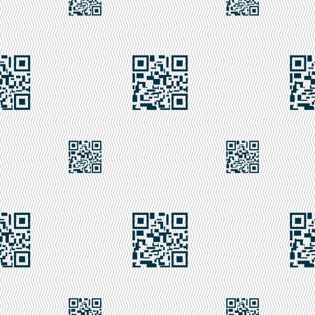 scanned: Barcode Icon sign. Seamless pattern with geometric texture. Vector illustration