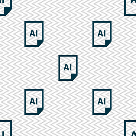 htm: file AI icon sign. Seamless pattern with geometric texture. Vector illustration
