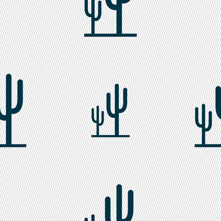 vegetal: Cactus icon sign. Seamless pattern with geometric texture. Vector illustration
