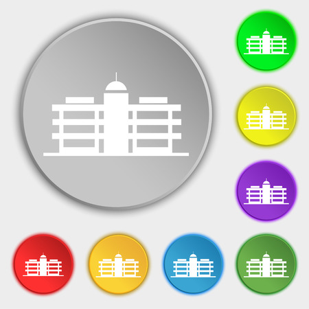 headquarters: Business center icon sign. Symbol on eight flat buttons. Vector illustration