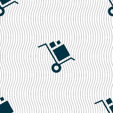 loader: loader Icon sign. Seamless pattern with geometric texture. Vector illustration