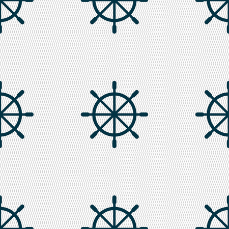 ship steering wheel icon sign. Seamless pattern with geometric texture. Vector illustration