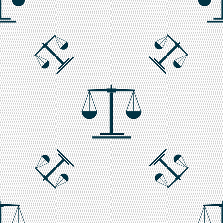 convicted: scales Icon sign. Seamless pattern with geometric texture. Vector illustration Illustration