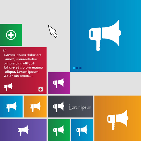proclaim: megaphone icon sign. buttons. Modern interface website buttons with cursor pointer. Vector illustration