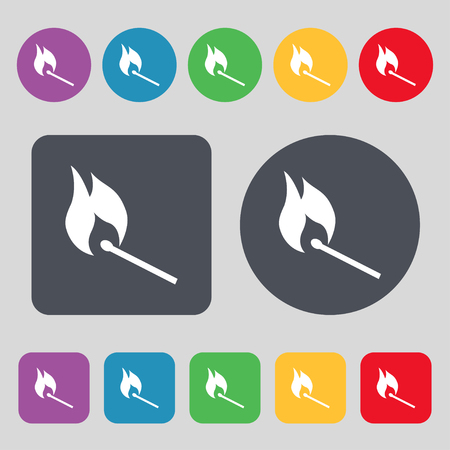 smoke alarm: burning match icon sign. A set of 12 colored buttons. Flat design. Vector illustration