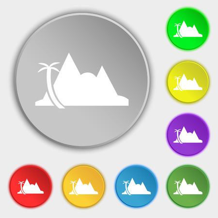 a mirage: Mirage icon sign. Symbol on eight flat buttons. Vector illustration Illustration