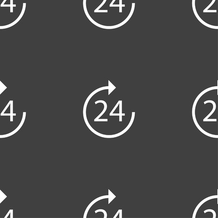 refreshed: TIME 24 Icon sign. Seamless pattern on a gray background. Vector illustration