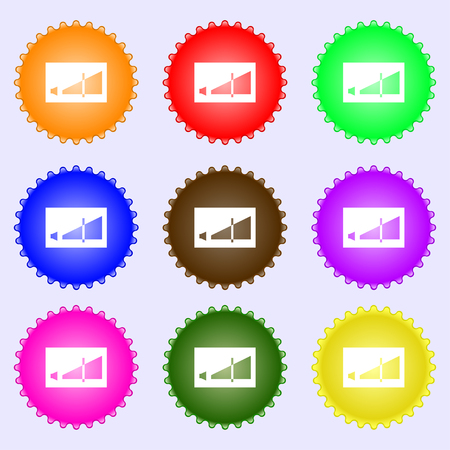Volume adjustment icon sign. Big set of colorful, diverse, high-quality buttons. Vector illustration