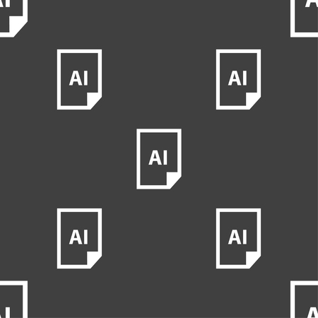 tiff: file AI icon sign. Seamless pattern on a gray background. Vector illustration Illustration