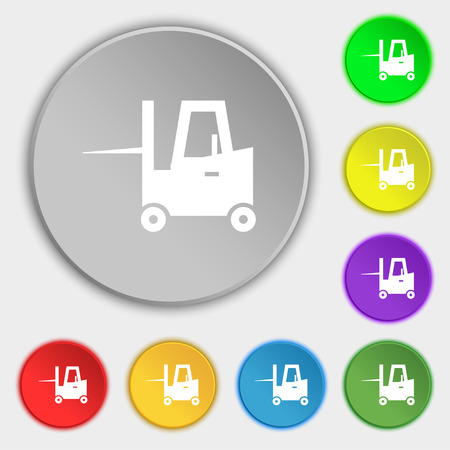 tonnage: Forklift icon sign. Symbol on eight flat buttons. Vector illustration Illustration