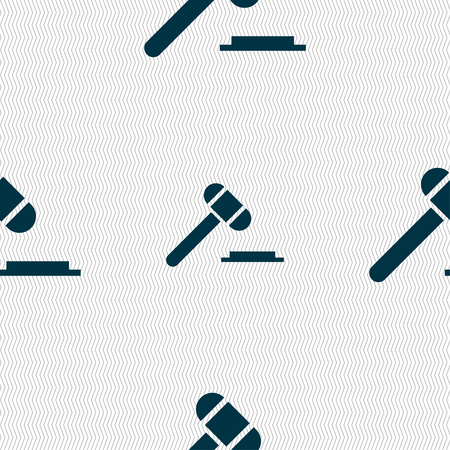 auctioning: judge or auction hammer icon sign. Seamless pattern with geometric texture. Vector illustration Illustration