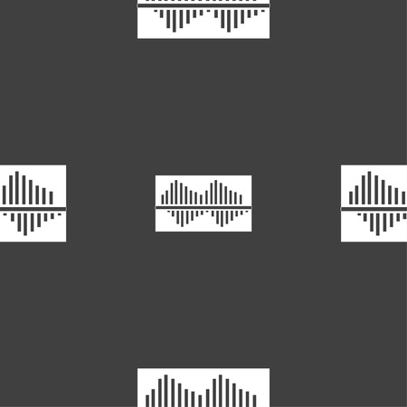 wave equality: Equalizer icon sign. Seamless pattern on a gray background. Vector illustration