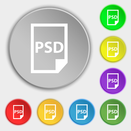psd: PSD Icon sign. Symbol on eight flat buttons. Vector illustration Illustration