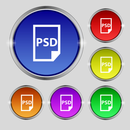 psd: PSD Icon sign. Round symbol on bright colourful buttons. Vector illustration Illustration
