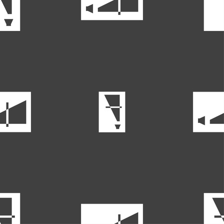 high volume: Volume adjustment icon sign. Seamless pattern on a gray background. Vector illustration