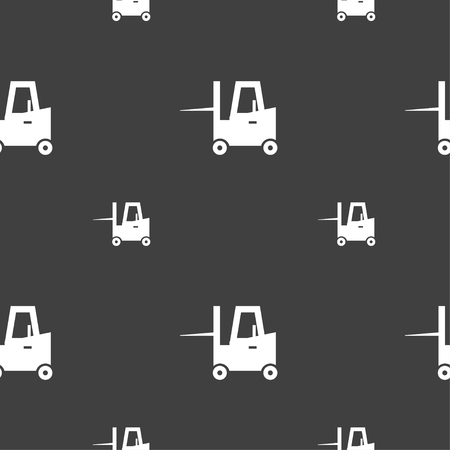 fork lifts trucks: Forklift icon sign. Seamless pattern on a gray background. Vector illustration Illustration