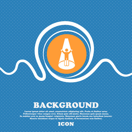 Spotlight icon sign. Blue and white abstract background flecked with space for text and your design. Vector illustration