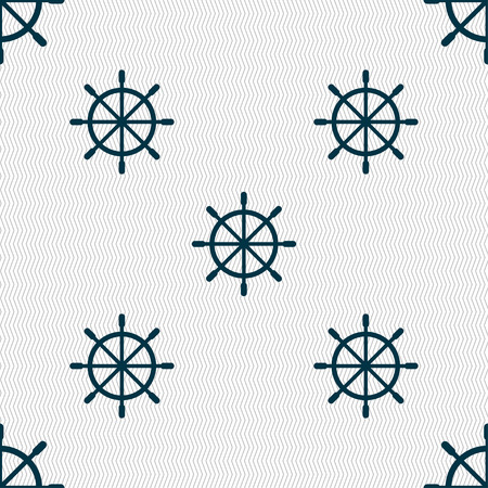 ship steering wheel: ship steering wheel icon sign. Seamless pattern with geometric texture. Vector illustration