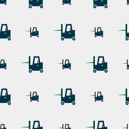 skid: Forklift icon sign. Seamless pattern with geometric texture. Vector illustration Illustration