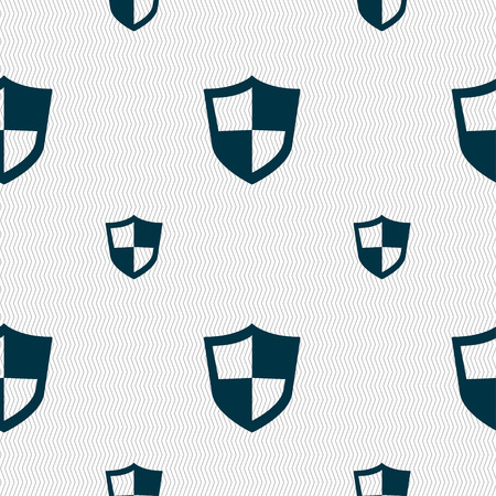 honour guard: shield icon sign. Seamless pattern with geometric texture. Vector illustration
