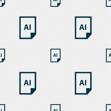 tiff: file AI icon sign. Seamless pattern with geometric texture. Vector illustration