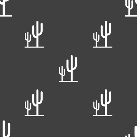 vegetal: Cactus icon sign. Seamless pattern on a gray background. Vector illustration