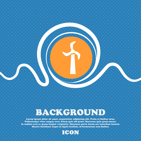 clean energy: Windmill icon sign. Blue and white abstract background flecked with space for text and your design. Vector illustration