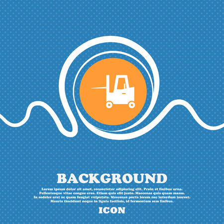 Forklift icon sign. Blue and white abstract background flecked with space for text and your design. Vector illustration