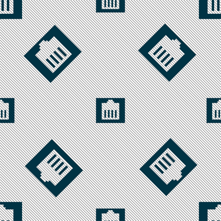 cat5: Internet cable, RJ-45 icon sign. Seamless pattern with geometric texture. Vector illustration