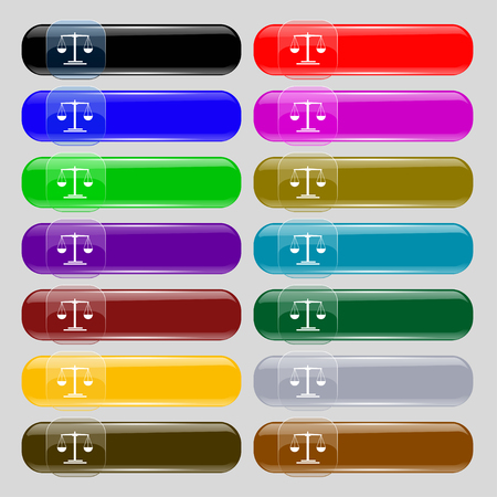 convicted: scales Icon sign. Set from fourteen multi-colored glass buttons with place for text. Vector illustration