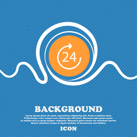 refreshed: TIME 24 Icon sign. Blue and white abstract background flecked with space for text and your design. Vector illustration Illustration