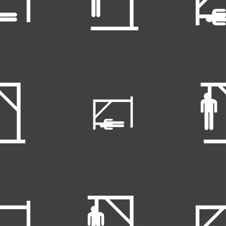 coward: Suicide concept icon sign. Seamless pattern on a gray background. Vector illustration