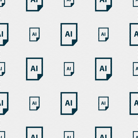 file AI icon sign. Seamless pattern with geometric texture. Vector illustration