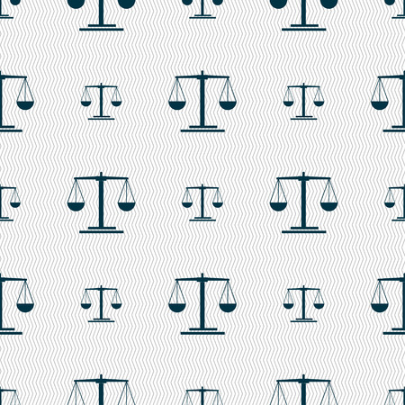 acquittal: scales Icon sign. Seamless pattern with geometric texture. Vector illustration Illustration