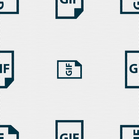 gif: File GIF icon sign. Seamless pattern with geometric texture. Vector illustration