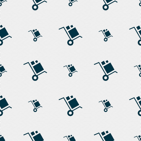 hydraulic platform: loader Icon sign. Seamless pattern with geometric texture. Vector illustration