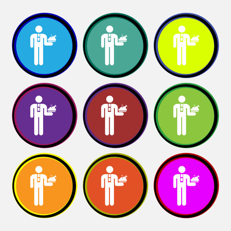 lay down: Waiter icon sign. Nine multi colored round buttons. Vector illustration Illustration