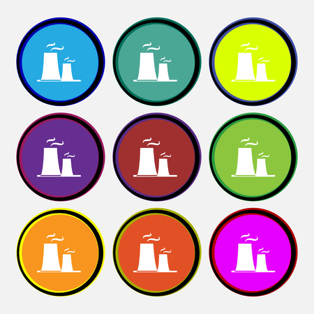 polonium: atomic power station icon sign. Nine multi colored round buttons. Vector illustration Illustration