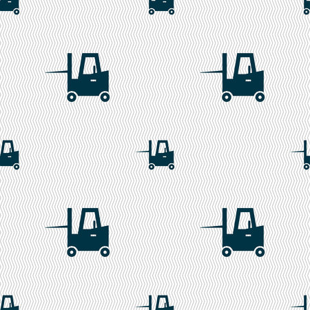fork lifts trucks: Forklift icon sign. Seamless pattern with geometric texture. Vector illustration Illustration