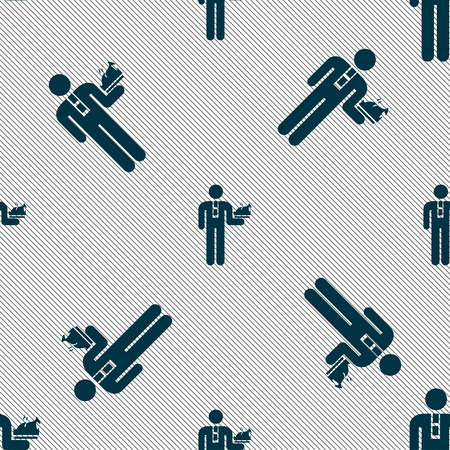 man lying down: Waiter icon sign. Seamless pattern with geometric texture. Vector illustration