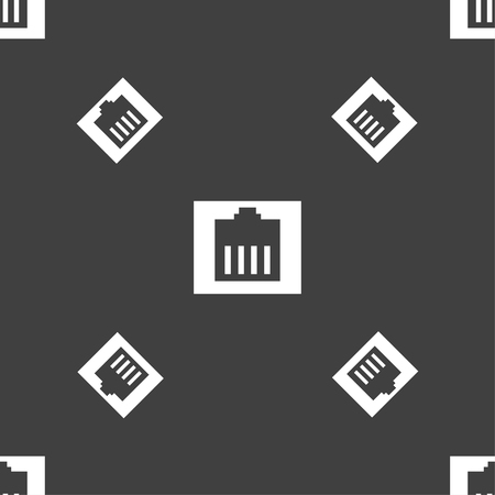 rj 45: Internet cable, RJ-45 icon sign. Seamless pattern on a gray background. Vector illustration